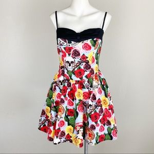 Hell Bunny Cancun Day Of The Dead Retro Dress M